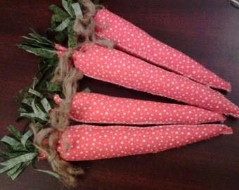 Set of 4 orange primitive carrots bowl fillers, ornaments, pin tucks or shelf sitter