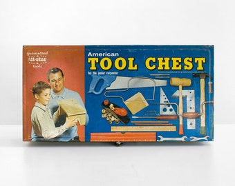 american tool chest kit, junior carpenter tool kit , tool kit, tool box with tools,  junior tool kit