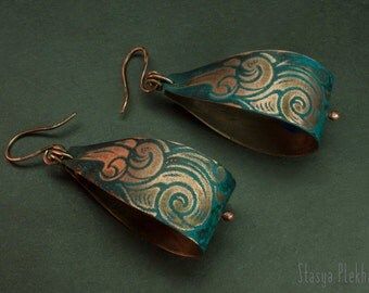 Agate earrings - Wire wrapped earrings - Copper earrings