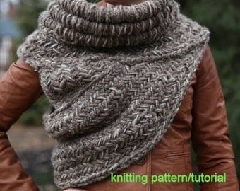 KNITTING PATTERN TUTORIAL all adult sizes and colors - Katniss inspired post apocalyptic huntress cowl vest shawl armor