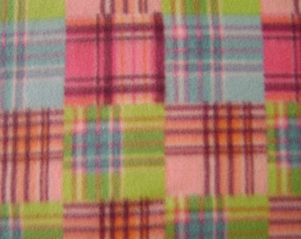 1.5 yards of Multi-colored Plaid Fleece Fabric