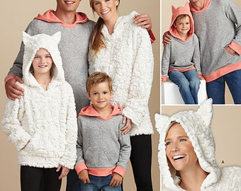 OUT of PRINT Simplicity Pattern 1261 Child's, Teen's and Adults' Hoodie