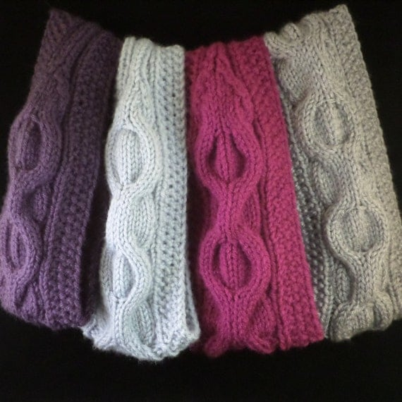 Cable Knit Ear Warmer Pattern : Cable Knit Headband Knitting Pattern, Cable Knit Ear Warmer Pattern, Hand Kni...
