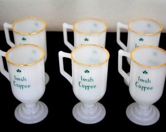 Set of 6 Irish Coffee Milk Glass Mugs / Gold Rims / Pedestal Milk Glass Mugs / Milk Glass Coffee Mugs / Mugs / Drinkware / St. Patrick's Day