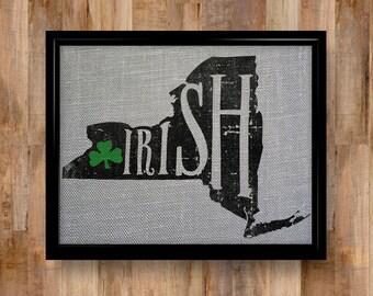 Screenprinted Art New York Irish on Burlap