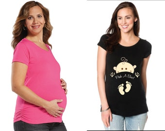 Maternity Peek -A- Boo with Baby cotton shirt...So Cute - Pre-Shrunk - PINK or BLACK