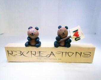 Brown Bear Figurine - Brown Bear Charm - Brown Bear Necklace - Swarovski Crystals - Sign Holder - Animal Gifts - Animal Figurines