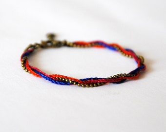 Bracelet KAHOMNI - orange - blue - raspberry - bronze