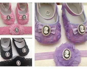 Pink/black/purple satin rosette baby shoes and headband set--black crib shoes-- newborn rosette shoes