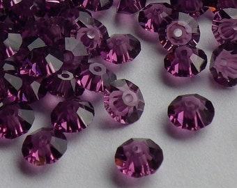 Vintage Swarovski Crystal Beads, Amethyst 5305, 5mm Crystal Beads, 35 Vintage Crystal Beads