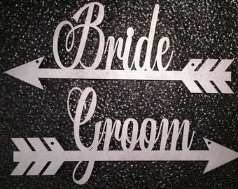Bride and Groom Arrow, Bride and Groom Chair Hanging Sign, Bride and Groom Chair Arrow, Bride and Groom Hanging Arrow