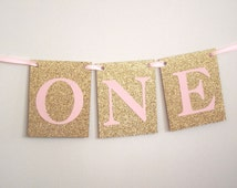 Pink Gold High Chair Banner Pink Gold ONE banner Pink Gold Highchair Decorations Pink Gold Birthday  Onederland Once Upon A Time Pink Gold