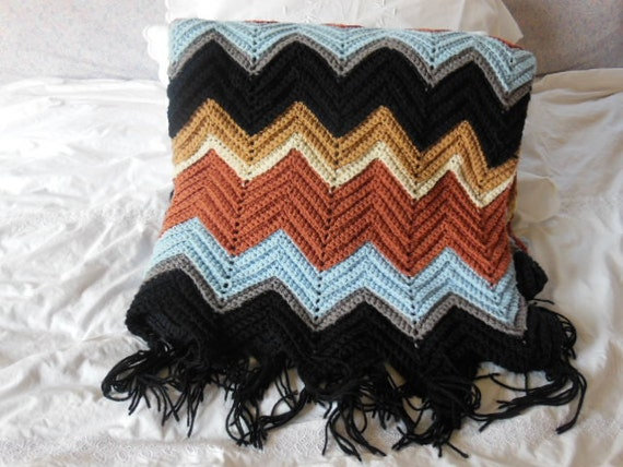 Crocheted Afghan With Fringe Chevron Herringbone Pattern