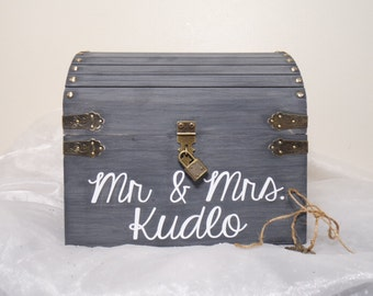Personalized Lockable Wedding Card Chest w/ Card Slot, Keepsake Chest, Shabby Chic Wedding Card Box, Rustic Wooden Chest Wedding Card Box