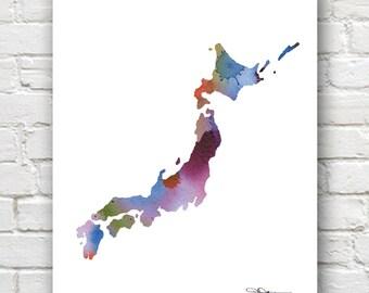Japan Map - Abstract Watercolor Art Print - Wall Decor