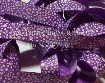 Glitter Filler grosgrain ribbon, grape purple ribbon, 7/8 white glitter print, glitter swirl ribbon, white dot print, glitter ribbon, swirls