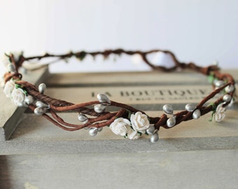 Mini White rose and Silver Pip Berry Floral Crown Halo Flower Girl Bridesmaid Garland Boho Wedding