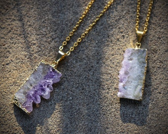 Gold Amethyst Druzy Slice Necklace // Raw Amethyst Necklace // Healing Crystal Necklace Boho Jewelry // Small Amethyst Pendant Stone Jewelry