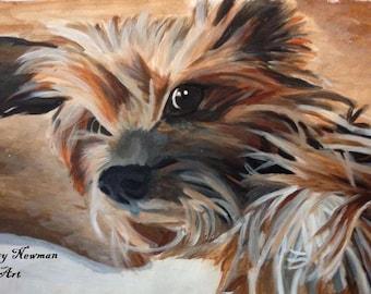 Commission: A3 Canvas Plain Background- Personalised Dog Portrait