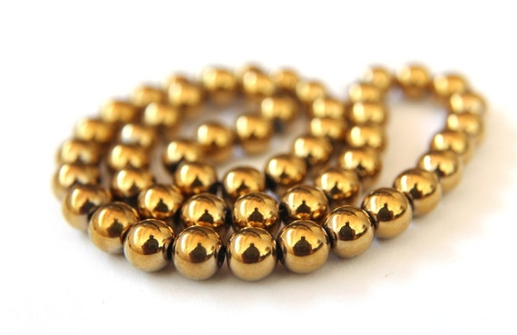 8mm Yellow / Go... Gold Hematite Beads