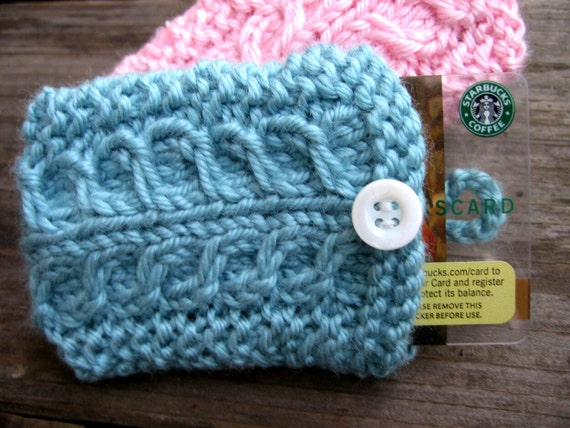 Items similar to Hand knit gift card holder, baby blue ...