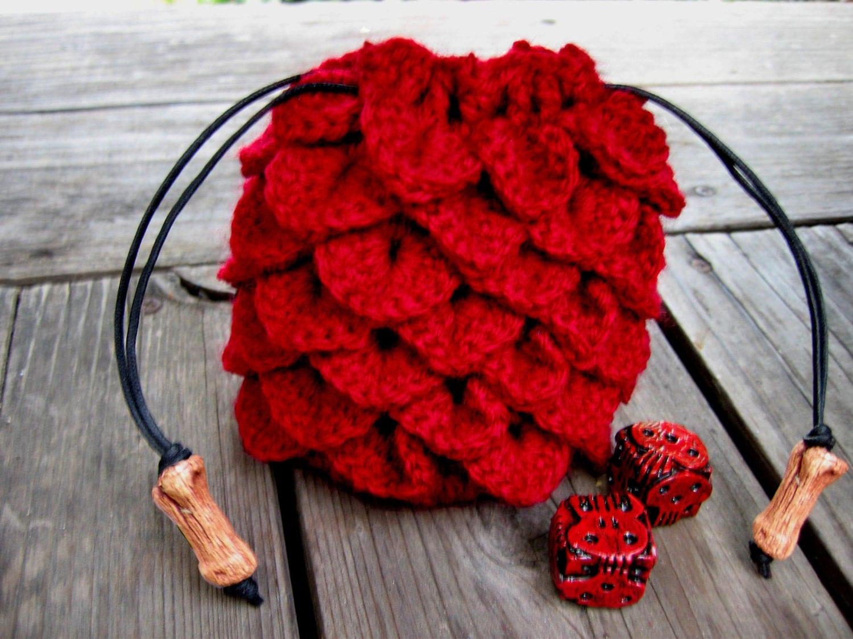 Dragon Dice Bag Crochet Pattern : Red dragon scale dice bag crochet drawstring pouch geek