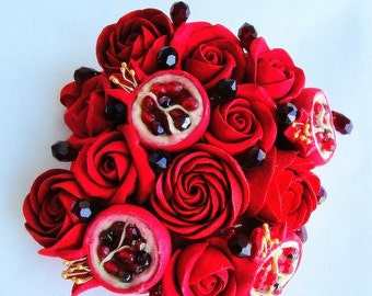 Red rose bracelet. Red flowers bracelet. Red rose jewelry. Floral jewelry. Pomegranate braclet, wedding red braclet