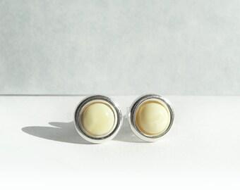 Elegant Studs, Amber Studs Post Stud Earring, 925 Sterling Silver Studs, Light Yellow Stud Earrings, Amber Jewelry, European Jewelry, Atigga