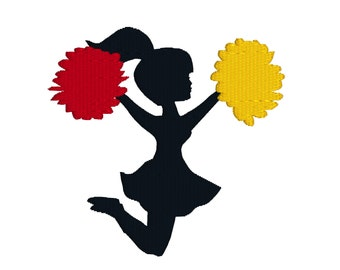BUY 2, GET 1 FREE - Cute Cheerleader With Pompoms Silhouette Machine Embroidery Design in 3 Sizes - 4x4, 5x7, 6x10