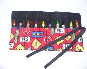 Construction Crayon Roll-10 Crayola Crayons included-Great Birthday Gift or Party Favor