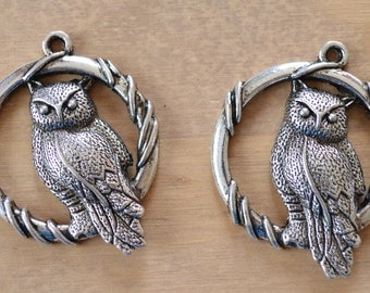 2 x Large Vintage Antique Silver Tibetan Style, Owl Pendants