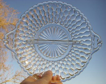 Indiana Glass 'Honeycomb-Clear' Pattern Handled, Divided Relish Dish