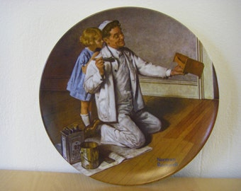 """Norman Rockwell Plate, 'The Painter' 8-1/2"""" Diameter, Numbered on Back"""