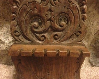 Hand Carved Vintage Owl Spoon Rack for 6 spoons