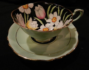 Paragon Floral on Black  Cup and saucer