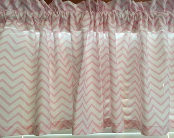 Pink and White Chevron Window Valance ~ Extra Wide ~ 65 Inches Wide x 15 Inches Long ~ Girls Room Decor