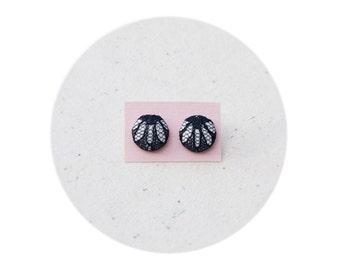 Button Covered Earrings, Stud earrings