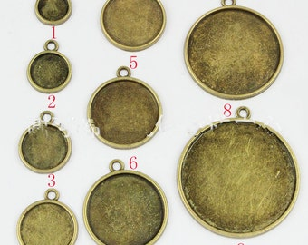 12mm Round Pendant Tray, Bezel Setting, 12mm  Cabochon Tray - Antique Bronze,Antique Silver,Single Side