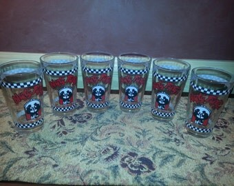 Vintage Set of SIX Nifty Fify's Diner Pint Drinking Glasses