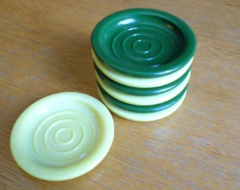 SPRING CLEANING SALE**7 Vintage, Green and Yellow, Milk Glass Bar Coasters