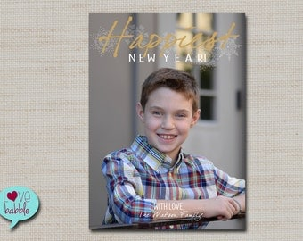 Happy New Year's Photo Card, winter snowflake, gold silver PRINTABLE DIGITAL FILE - 5x7