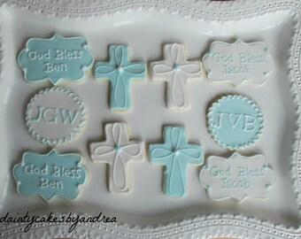 1 dozen Customized Baby Blue Baptism cookies!