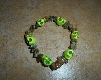 Crystal Skull Bracelet with Unakite beads
