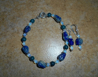 Lapis Crystal Skull with Dumortierite and Opalite Bracelet / Earring Set