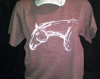 Equestrian Horse T Shirt- Horse head sketch  shirt