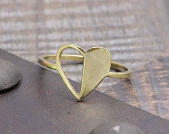 925 vermeil gold half side empty heart ring (PR_00019)