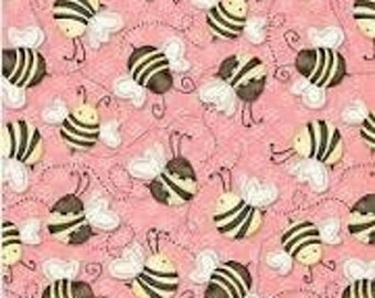 Henry Glass New Let It Bee, bumble bee on Pink Cotton Fabric