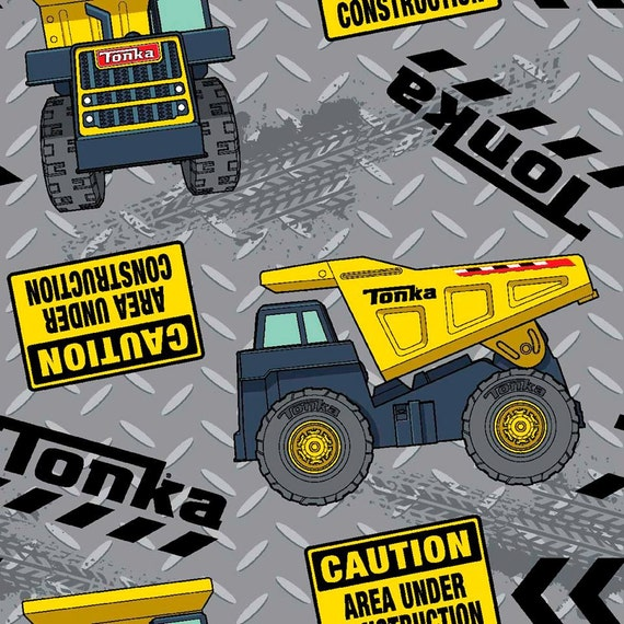 Tonka truck cotton woven fabric listing is for 1 yard for Little blue truck fabric