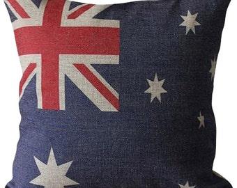 Australian Flag Linen Cushion Cover