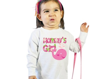 Mommy's Girl with Pinky the Whale Shirt for Girls or Baby Bodysuit